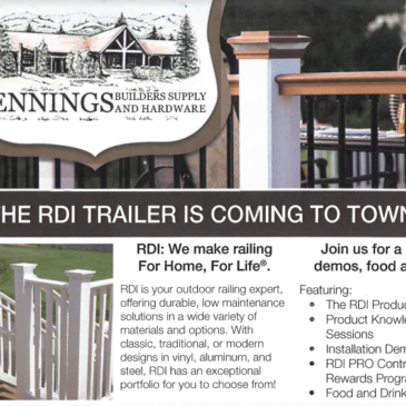The RDI Trailer is Coming to Jennings Builders Supply