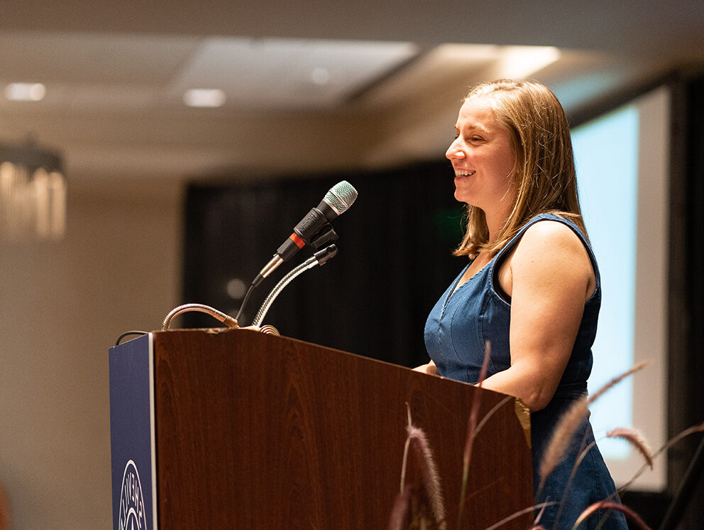 Kat McReynolds speaks at the 2019 Awards Gala